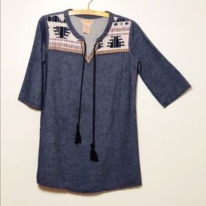 Flying Tomatoes Chambray Embroidered Tunic Top